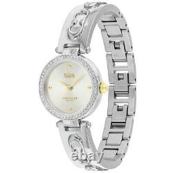 Coach Park 14503275 Silver Steel C Bangle Crystal Pave Gold Accent Women's Watch