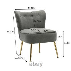 Cocktail Shell Chair Wing Back Armchair Retro Button Accent Chair Gold Metal Leg