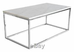 Coffe Table ACCENT 110x60 cm rectangular marble metal frame gold white chrom