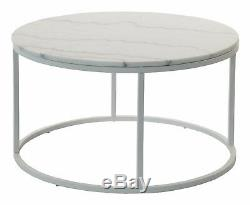 Coffe Table ACCENT 85 cm round marble metal frame gold chrome white green