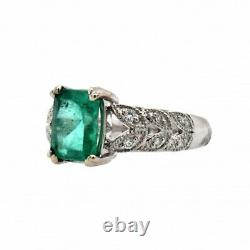 Colombian Emerald 1.46 Carat Ring With Diamond Accent In 14k White Gold (36041)