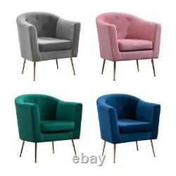 Comfy Velvet Tub Chair Armchair Accent Chair Occasional Sofa Living Room Bedroom