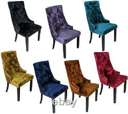 Crushed Velvet Knocker Back Windsor Dining Accent Chair Button Fabric Wood Legs