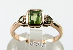 Dainty 9k 9ct Rose Gold Aaa Peridot Art Deco Ins Heart Accent Ring Free Resize