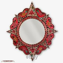 Decorative Round Mirror 25.6, Peruvian Painting on glass, Wall Accent Mirrors