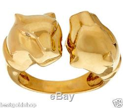 Diamond Accent Double Panther Head Ring Real Solid 14K Yellow Gold Size 6 and 7