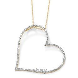 Diamond Accent Heart Pendant & Chain in Solid 10k Yellow Gold 18