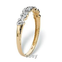 Diamond Accent Solid 10k Gold Multi-Heart Promise Band Ring