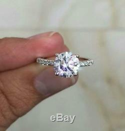 Diamond Engagement Ring 1.65 Carat D Si1 Round Solitaire Accents 14 K White Gold