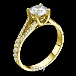 Diamond Engagement Ring With Accents 1.6 Ct F SI Brilliant Cut Yellow Gold Fine