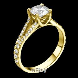 Diamond Engagement Ring With Accents 1.6 Ct F SI Brilliant Cut Yellow Solid Gold