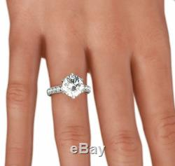 Diamond Ring 3.50 Ct Round Si1 F Solitaire & Accents 14 Karat White Gold Bridal