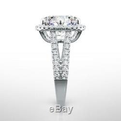 Diamond Ring Halo 4 Ct F Vs1 Solitaire With Accents 14 K White Gold Natural New