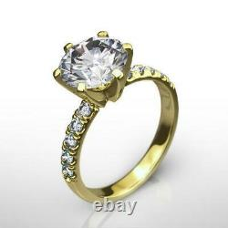 Diamond Ring Round 18 Karat Yellow Gold Si2 Solitaire W Accents 1.8 Ct Women