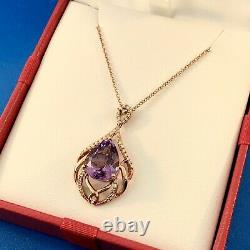 EFFY 14K Rose Gold Pear Amethyst Solitaire Diamond Accent Statement Necklace