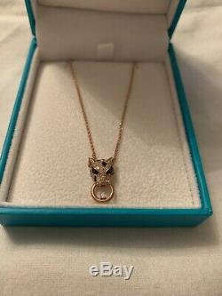 EFFY Collection Diamond And Emerald Accent Panther Neckalce 14K Rose Gold