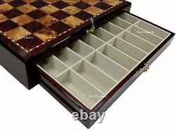 Egyptian Anubis Chess Set Gold & Silver Color Accents Cherry Color STORAGE Board