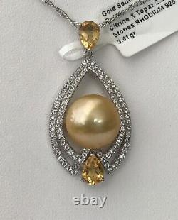Elegant Citrine and Golden South Sea Cultured 12mm Pearl Pendant with Topaz Accent