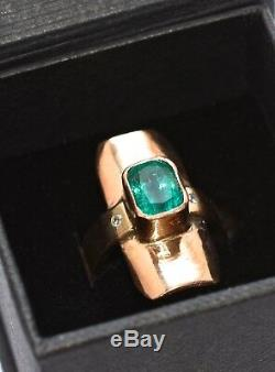 Emerald 2.13ct ring 18ct gold diamond accents 9g hallmarked certificate