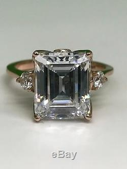 Emerald Cut Engagement Wedding Ring 5.25ctw. & Accents in 14k Rose Gold #4677