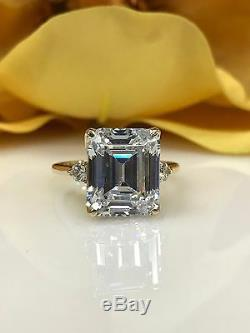 Emerald Cut Engagement Wedding Ring with Accents 6.25ctw. 14k Yellow Gold #4643