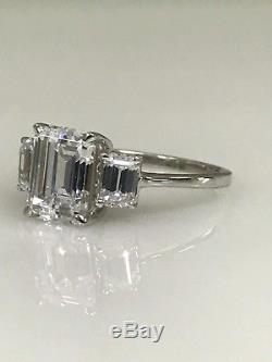 Emerald Cut with Accents Engagement Ring 3.00ctw 14K White Gold #4561