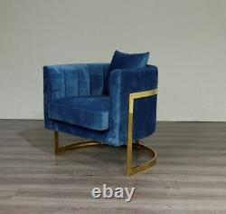 Emerald Green Velvet Tub Accent Chair Gold Finish Frame Free UK Delivery