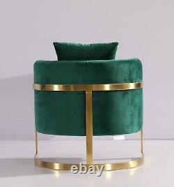 Emerald Green Velvet Tub Accent Chair Gold Finish Frame June 2021 Delivery