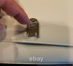 FURLA 1927 Mini Crossbody Talco H (White) Leather with Gold Accents/Chain NEW $278