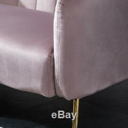 Fabric Velvet Sofa Armchair Loveseat 1 2 Seat Accent Chair Gilded Metal Legs UK