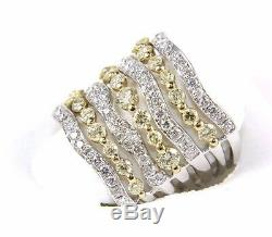 Fancy Tall Curvy Diamond Cluster Band withAccents 14k 2-Tone Gold 2.58Ct
