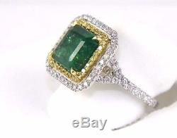 Fine Dark Colombian Emerald Ring withDiamond Halo & Accents 18k White Gold 4.34Ct