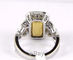Fine Dark Colombian Emerald Ring withDiamond Halo & Accents 18k White Gold 5.15Ct