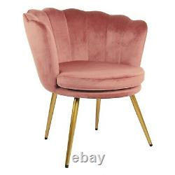 Flora Accent Chair Scallop Armchair Petal Back Lounge Tub Chair With Golden Legs