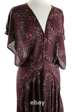 Free People Maxi Dress Women's Livia Dolman Sleeve Flowing Gold Accents, M, $228