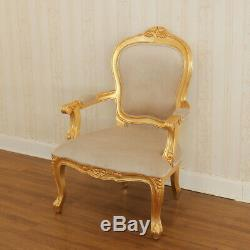 French Arm Chair 68x66x99cm in Gold Leaf Finish, in mahogany, free delivery
