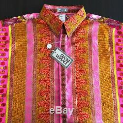 GIANNI VERSACE silk shirt with gold accents Marco Polo print size 54 from ss 1993