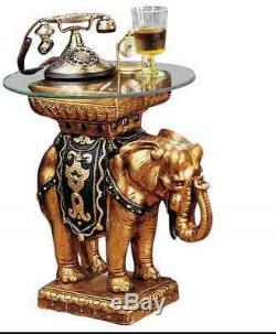 GOLDEN KING Indian ELEPHANT SCULPTURE GLASS TOP TABLE Side Cocktail Bar Accent