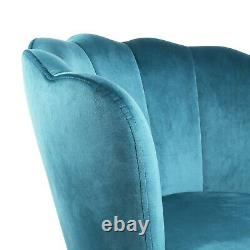 Genesis Flora Accent Chair Scallop Armchair Petal Back With Golden Legs Teal