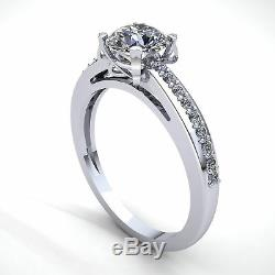 Genuine 0.5ct Round Diamond Ladies Accent Solitaire Engagement Ring 14K Gold