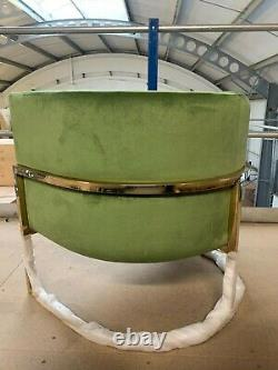Giovanni Style Soft Green Velvet Accent Chair Channelled Back Gold Brushed Legs