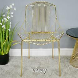 Gold Finish Metal Wire Accent Chair Modern Design Bedroom Dressing Table Seat