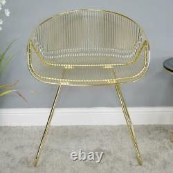 Gold Finish Metal Wire Accent Chair Modern Design Bedroom Reception Feature Seat