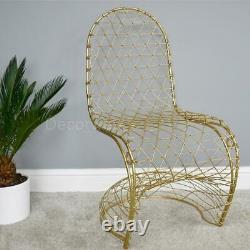 Gold Metal Cross Wire Accent Chair Modern Design Bedroom Reception Feature Seat