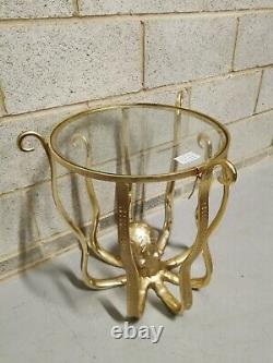 Gold Octopus Round Glass Accent Side End Table