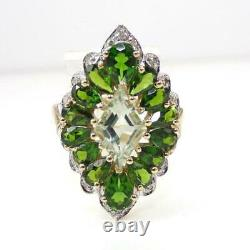 Green Chrome Diopside Diamond Accent Halo 10K Yellow Gold Ring Size 7 LHI2