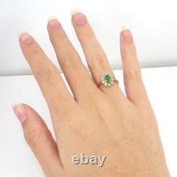 Green Emerald 0.15ctw Diamond Accent Halo 14K Yellow Gold Ring Size 7 LHH2
