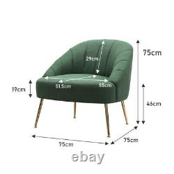 Green Fabric Oyster Scallop Tub Accent Chair 1/2 Seater Sofa Armchair Compact