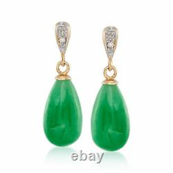 Green Jade Teardrop Earrings with Diamond Accents in 14kt Yellow Gold