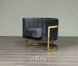 Green Velvet & Gold Frame Arm Chair Accent Chair Free UK July Delivery